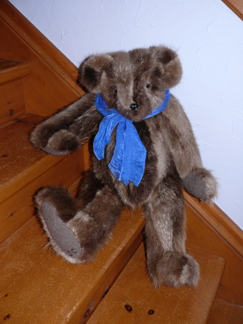 Brown Bear with Blue Scarf