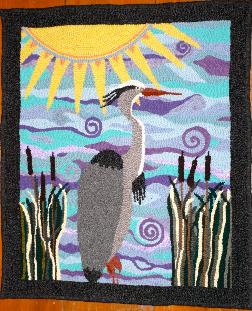 Great Blue Heron hooked rug