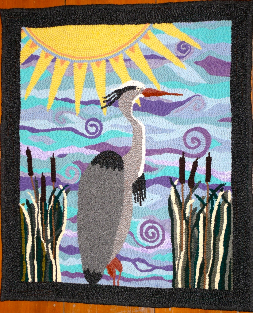 Great Blue Heron hooked rug