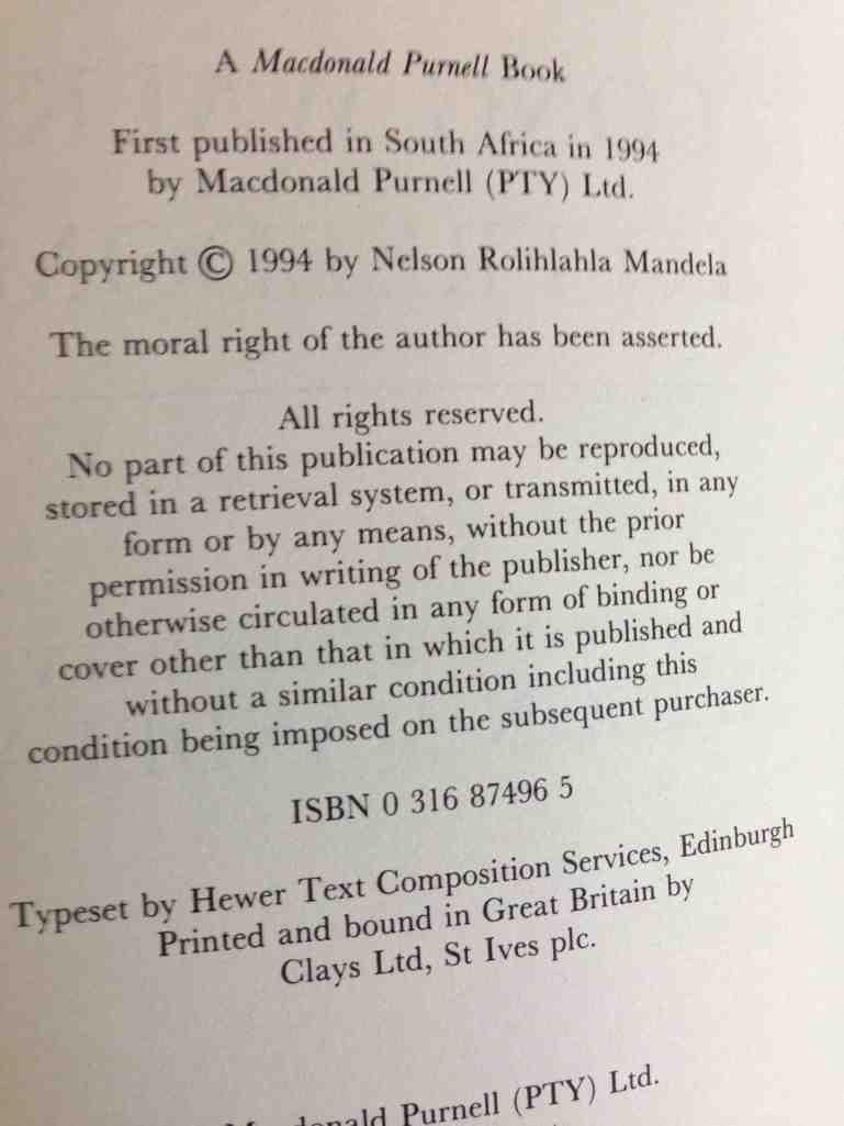 Blog - Signed First Edition copy of N Mandela's book