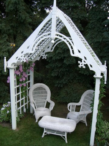 Blog Photo - Arbor and pink clematis