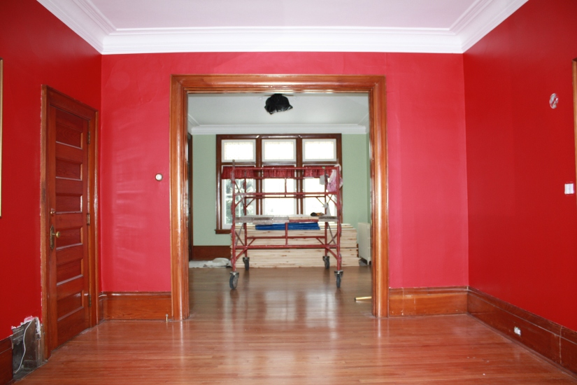Blog Photo - REd Room with Holes in Plaster