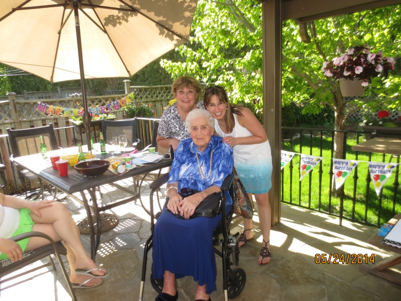 Vivian, Arna and granddaughter at 96th birthday party