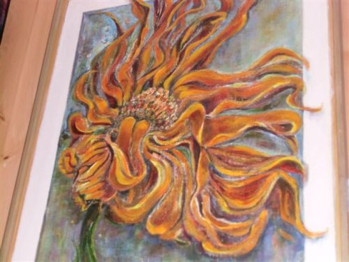 Blog Photo - Artist Sandra's Yellow Flower painting