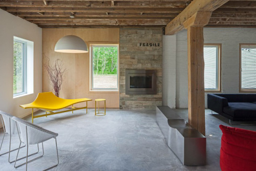 Blog - canning Factory yellow bench and fireplace