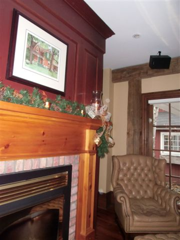 Blog Photo - Stiver House Family Room Fireplace, Painting and Chair