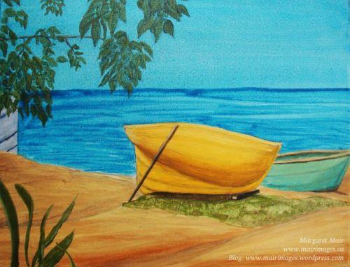Boats on the Beach (St Martin), Margaret Mair, original art