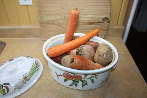 Blog Photo - Recipe - Root veggies in dish unpeeled