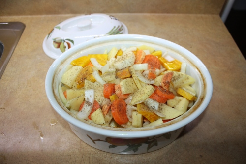Blog Photo - Recipe - Veggies in dish with seasonings