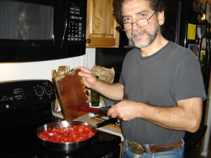 Blog Photo Lavinia and Rick Rick preparing tomatoes for canning