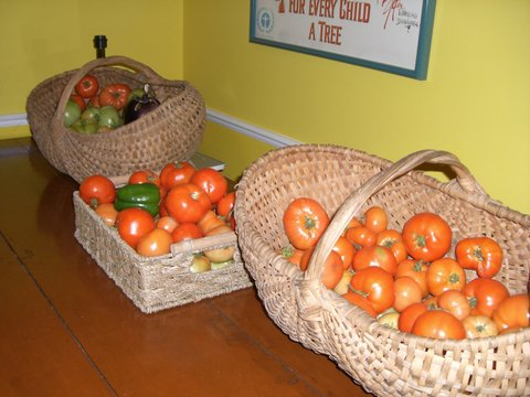 Blog Photo - Garden harvest baskets with toamtoes peppers eggplants on table