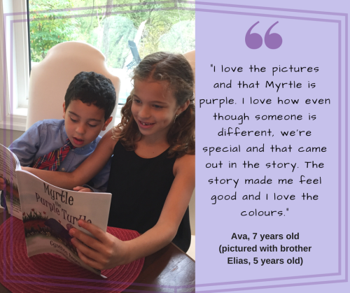 Blog Photo - Ava and Elias reading Myrtle with review