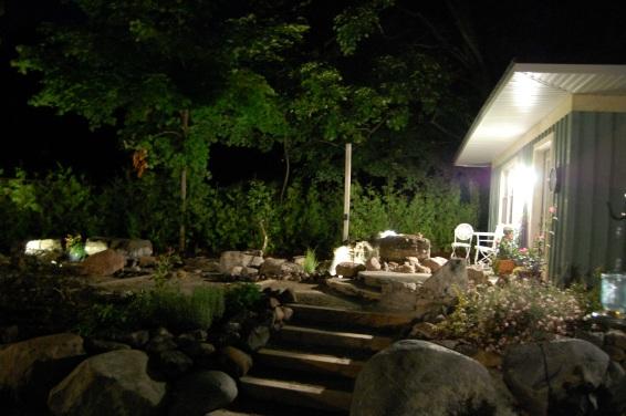 Blog Photo - Wayne's fountain and Patio at night