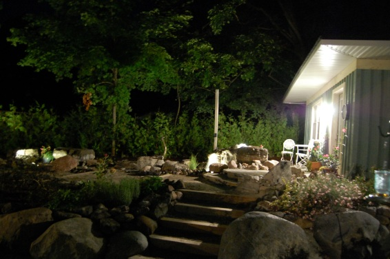Blog Photo - Wayne's fountain and Patio at night