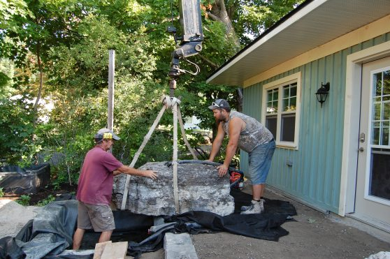Blog Photo - Wayne's Fountain Men Placing Fountain Boulder