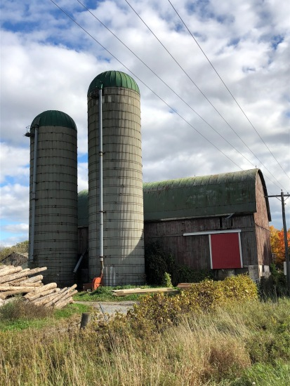 Blog Photo - Bowmanville Fall Drive - Silos and Barn with red door