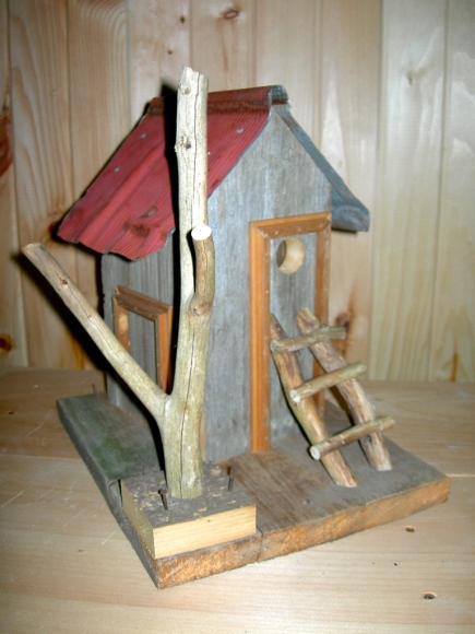 Blog Photo - Rustic birdhouse with red roof