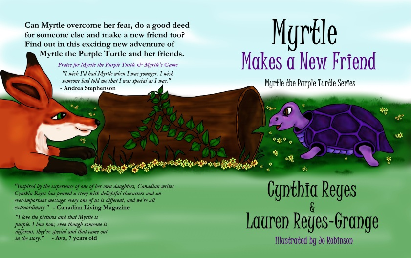 Book Cover - Myrtle Makes a New Friend - Front and Back coverspread