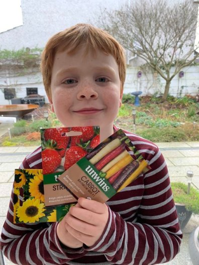 Blog Story - Ciaran's son Zack will grow sunflowers, carrots etc