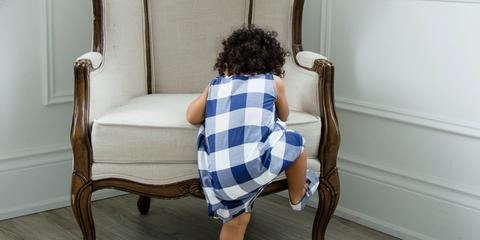 Blog Photo - Petits Genoux Toddler in plaid